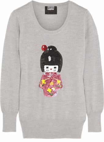 Markus Lupfer Geisha Doll Sequined Merino Wool Sweater - Lyst