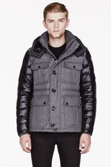 Moncler Grey Wool and Nylon Quilted Nicolas Jacket - Lyst