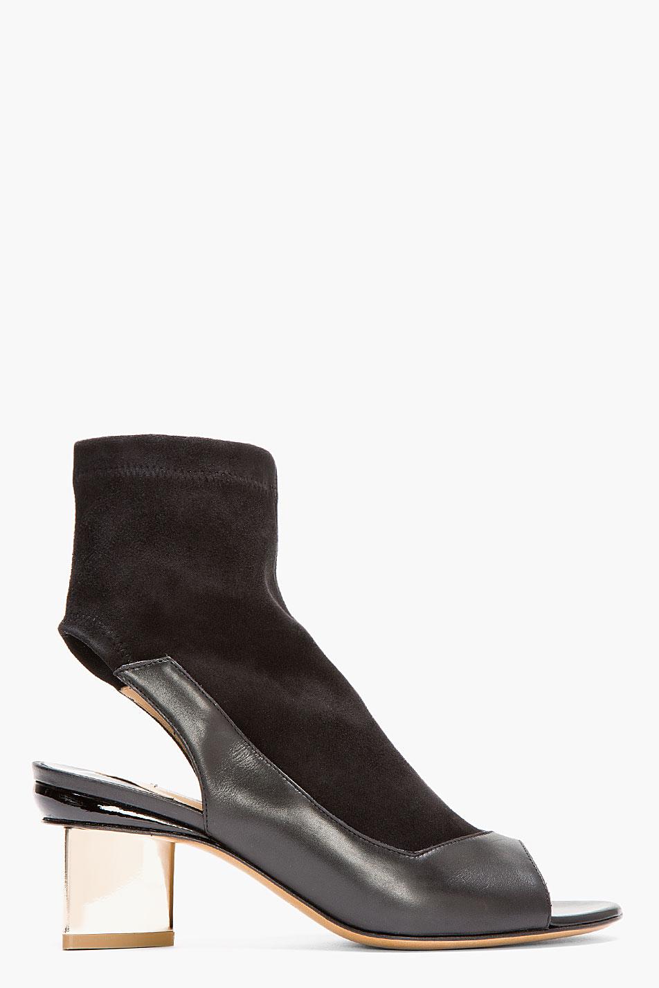nicholas kirkwood black suede and leather gold heeled cut