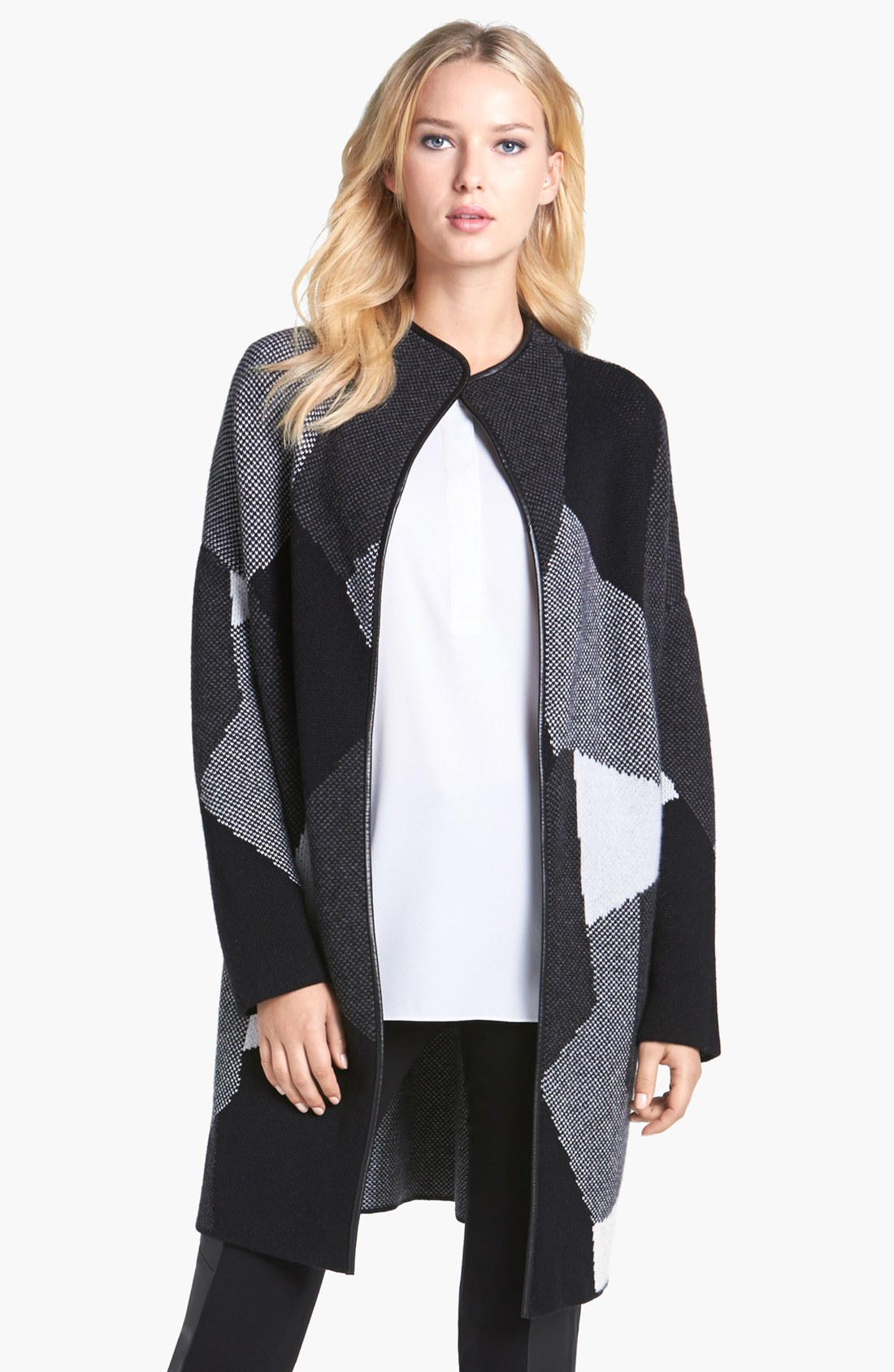 Nordstrom Collection Leather Trim Cashmere Car Coat in Black (Black ...