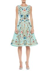 Oscar de la Renta Embroidered Silk Aline Dress Aqua - Lyst