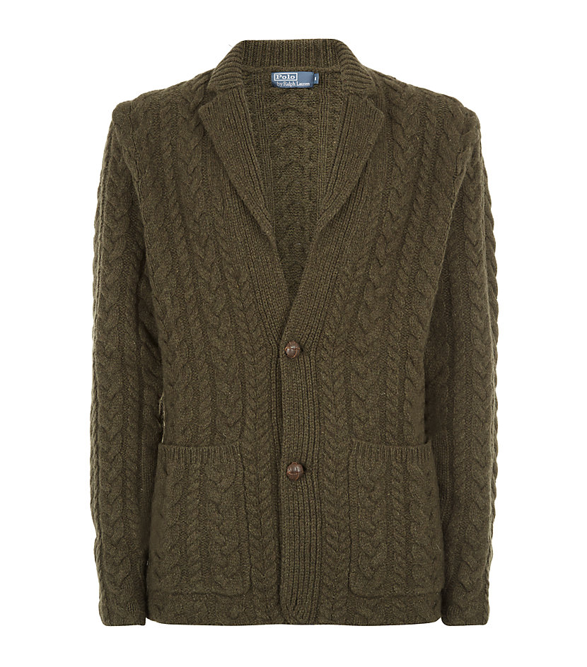 polo ralph lauren cable knit sweater jacket in green for. Black Bedroom Furniture Sets. Home Design Ideas