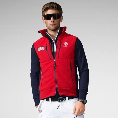 Rlx ralph lauren Polar Fleece Vest in Red for Men | Lyst