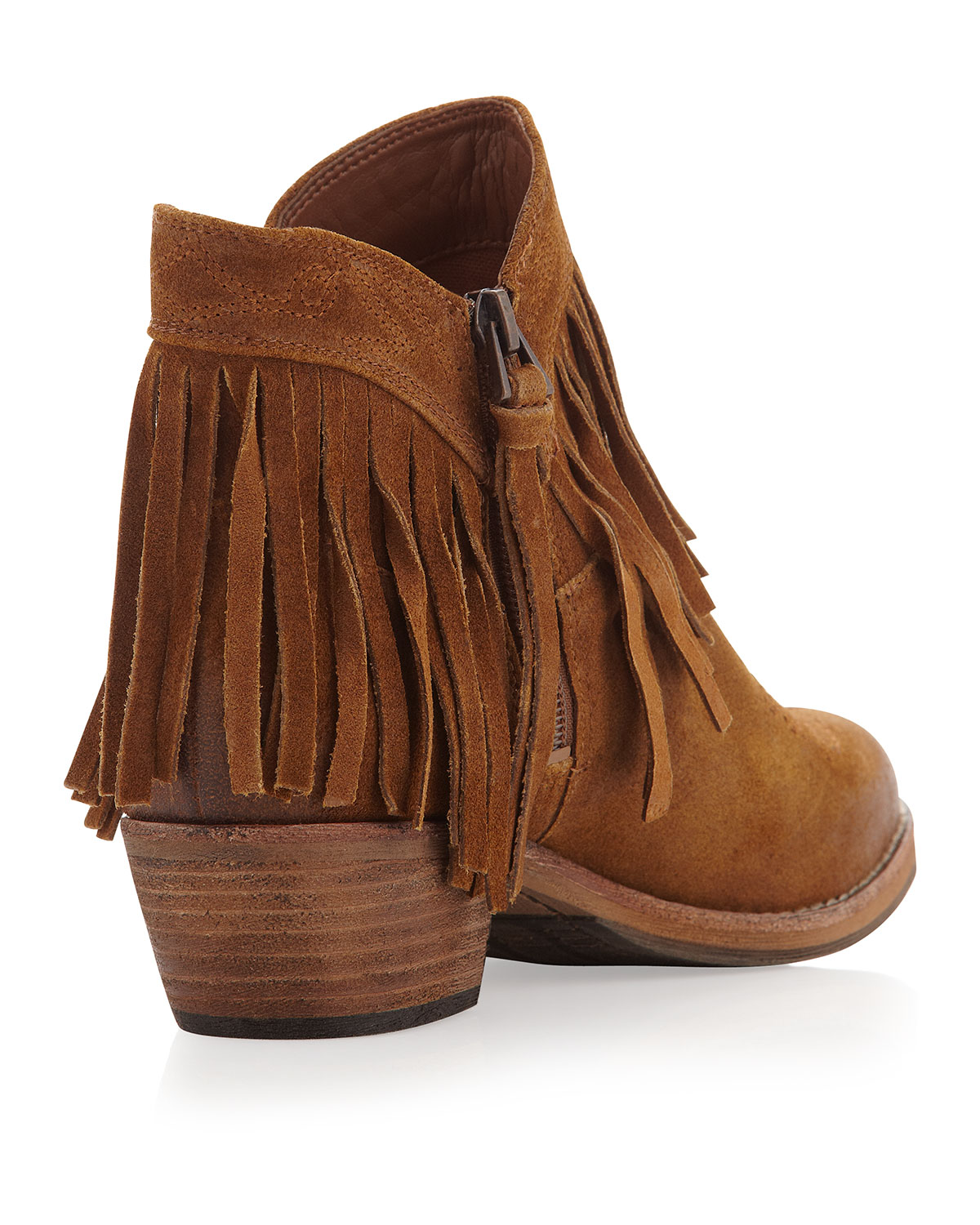 f29d47fcb92e56 Lyst - Sam Edelman Sideney Fringe Ankle Boot Whiskey in Brown