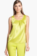 St. John Collection Scoop Neck Pleated Liquid Satin Shell - Lyst