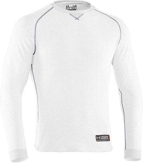 Under armour thermal 20 crew shirt in white for men lyst for White thermal t shirt