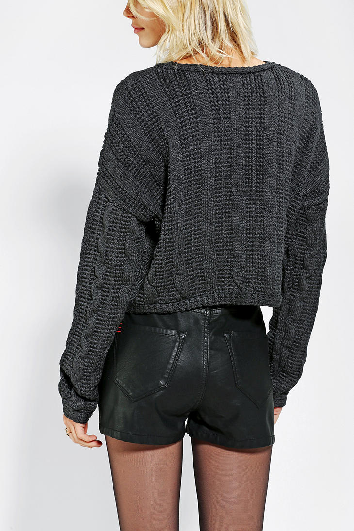 Urban outfitters Sparkle Fade Chunky Cableknit Cropped Sweater in ...