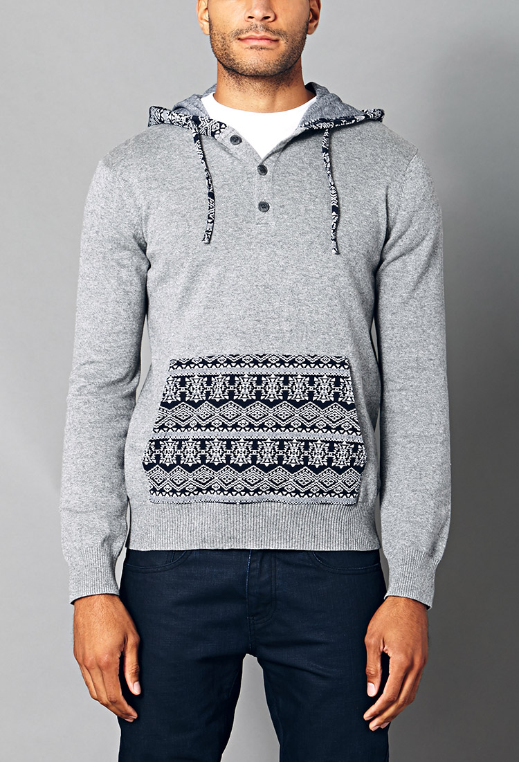 Forever 21 Hooded Fair Isle Sweater in Gray for Men | Lyst