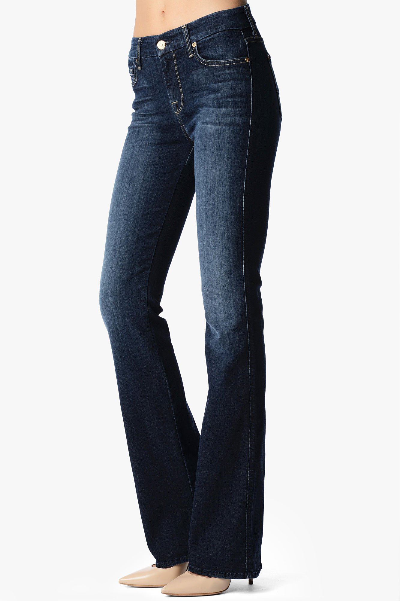 7 for all mankind Mid Rise Slim Illusion Kimmie Contour Bootcut in ...