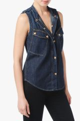 7 For All Mankind Zip Placket Denim Top - Lyst
