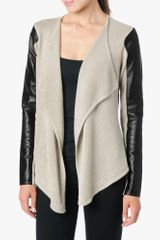 7 For All Mankind Leather Sleeve Knit Cardigan - Lyst