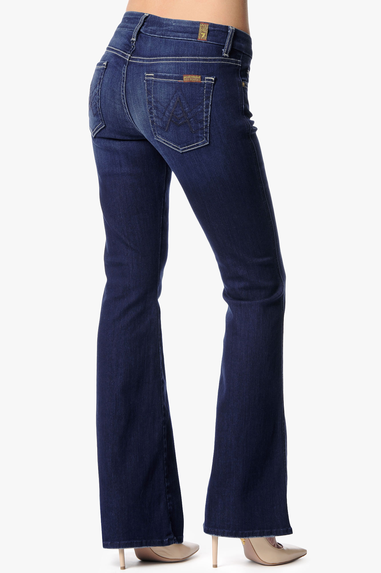 7 for all mankind Lexie Petite A-Pocket Flare in Blue | Lyst