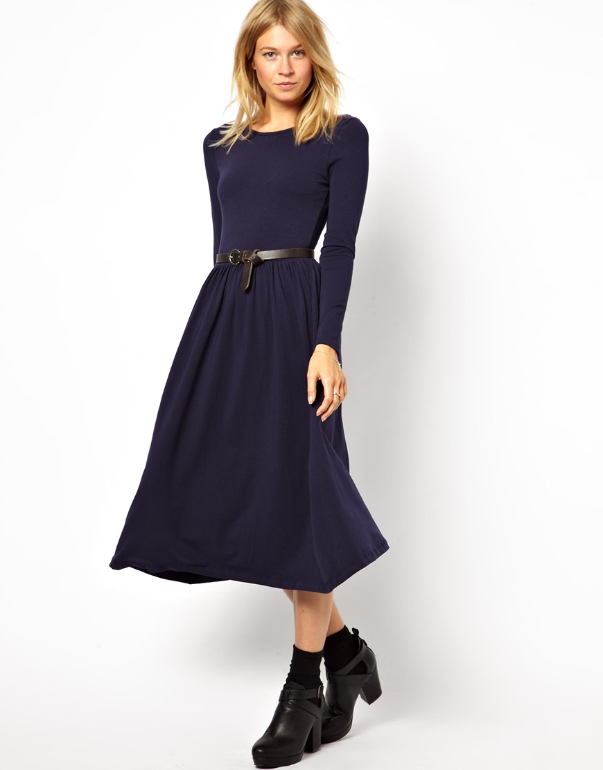 a47a77930e Lyst - ASOS Midi Skater Dress With Long Sleeves in Blue