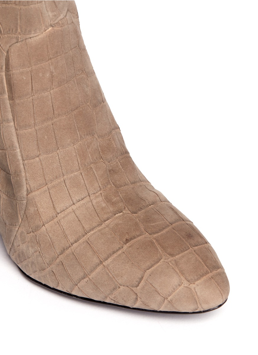 b brian atwood bomand croc embossed leather wedge boots in
