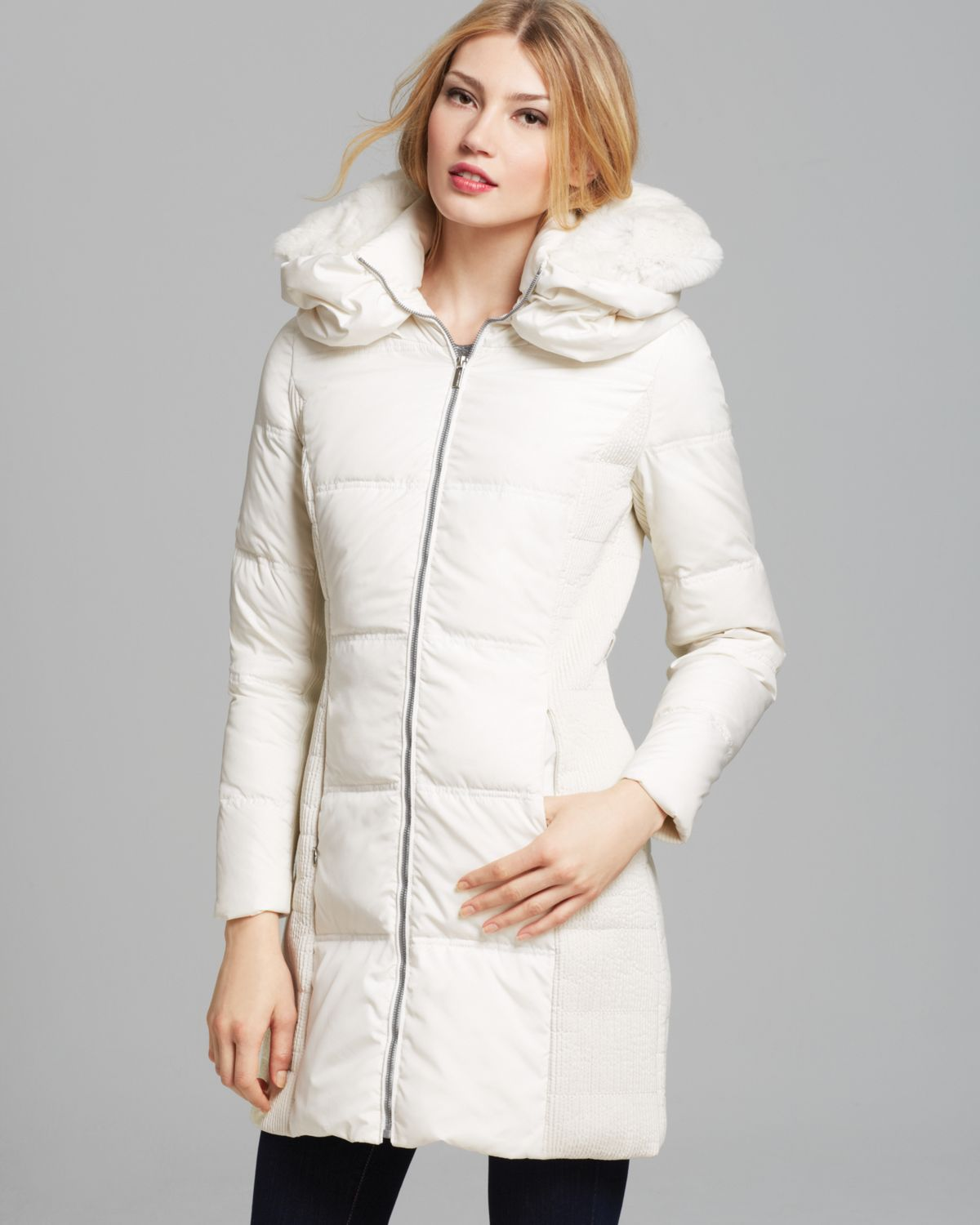 Bcbgmaxazria Down Jacket with Fur Collar in White | Lyst