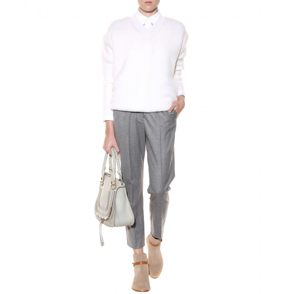 Chlo�� Marcie Medium Leather Tote in Gray (marshmallow grey made in ...