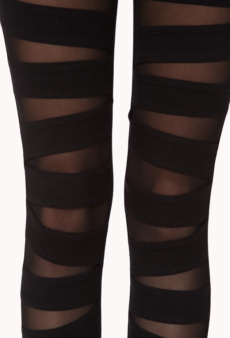 Forever 21 Mesh Cutout Leggings in Black | Lyst