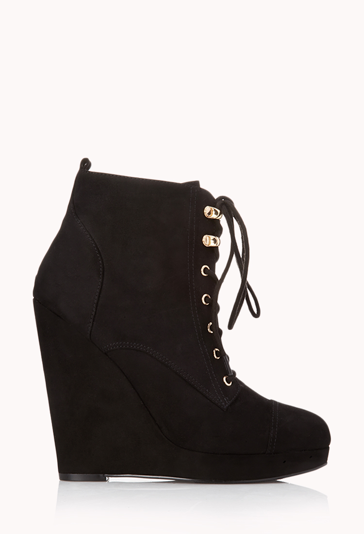 Forever 21 Off Roading Wedge Booties In Black | Lyst