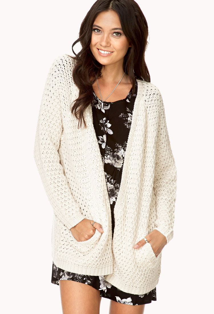 Forever 21 Easy Open-front Cardigan in White | Lyst