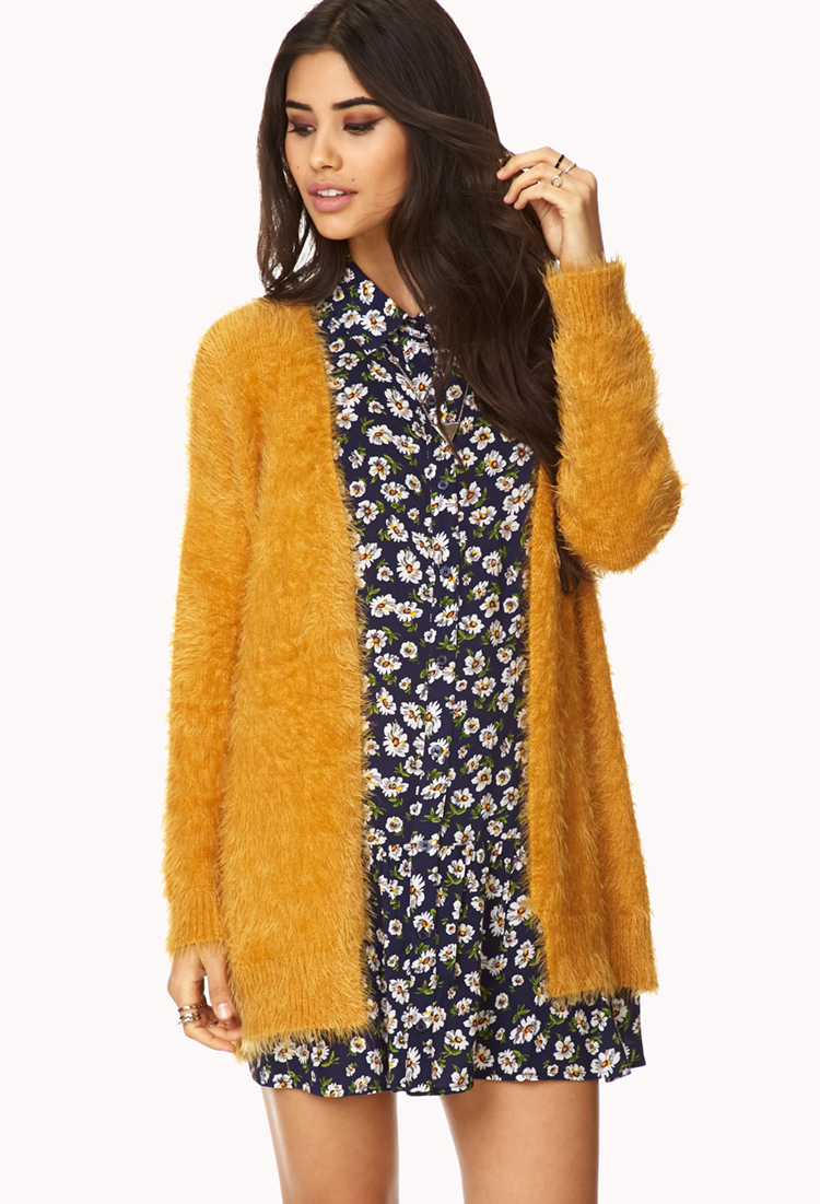 Forever 21 Favorite Fuzzy Cardigan in Orange | Lyst