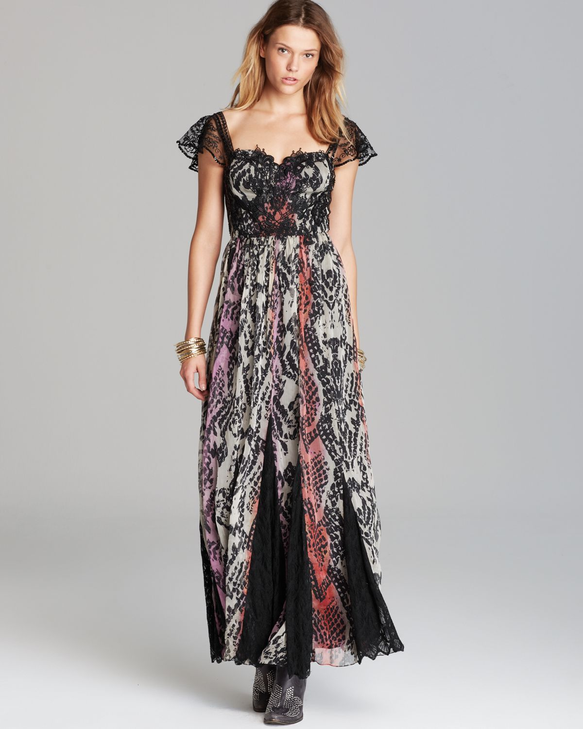 Free people Maxi Dress Wild Hearts Printed | Lyst