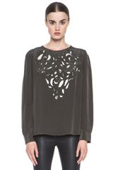 Isabel Marant Qazvin Embroidered Flower Silk Top - Lyst