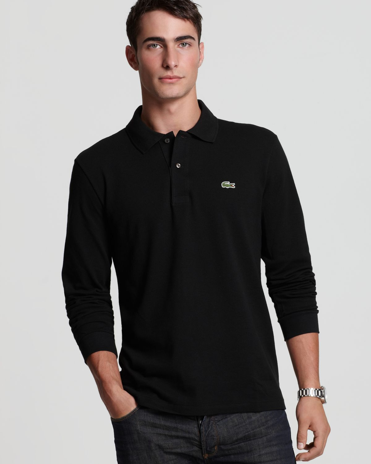 5b3d509af70e6 ... lacoste black long sleeve classic fit pique polo product