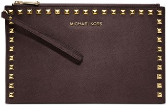 Michael Kors Selma Stud Large Zip Clutch - Lyst