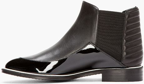 Nicholas Kirkwood Black Matte And Patent Leather Chelsea