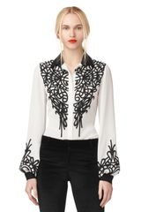 Oscar de la Renta Long Sleeve Blouse with Embroidery - Lyst