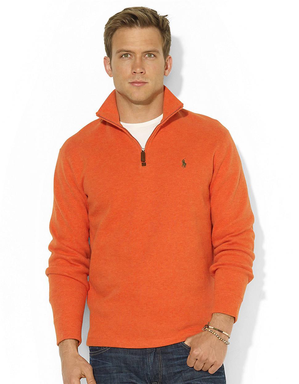 polo ralph lauren french rib half zip mockneck pullover in orange for. Black Bedroom Furniture Sets. Home Design Ideas