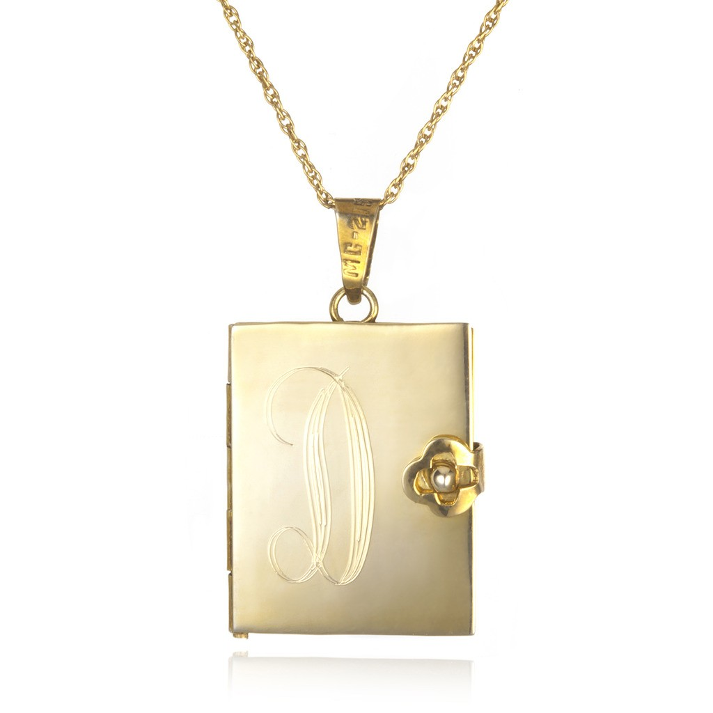 soixante neuf engraved locket book necklace gold in. Black Bedroom Furniture Sets. Home Design Ideas