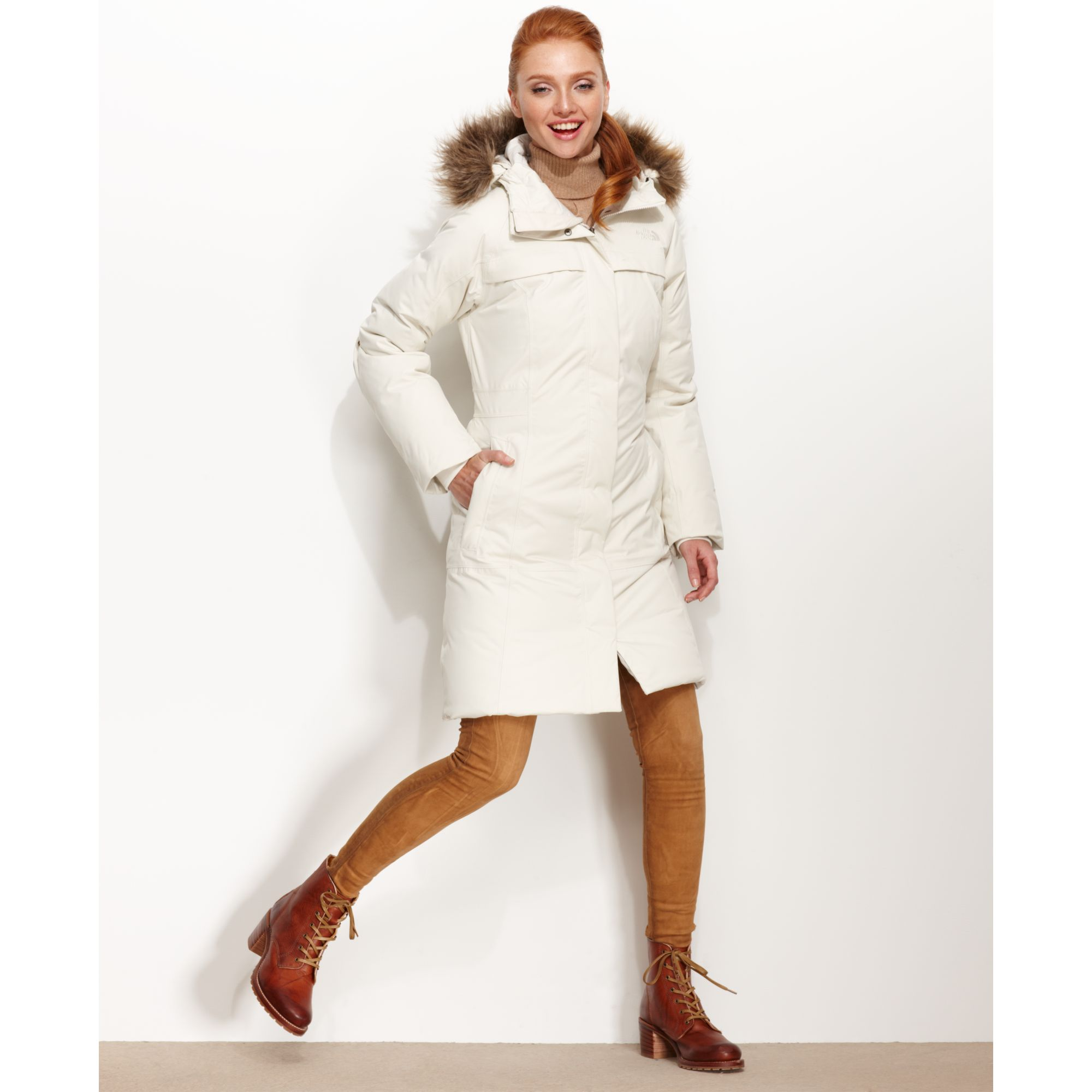 lyst the north face arctic down parka in white. Black Bedroom Furniture Sets. Home Design Ideas