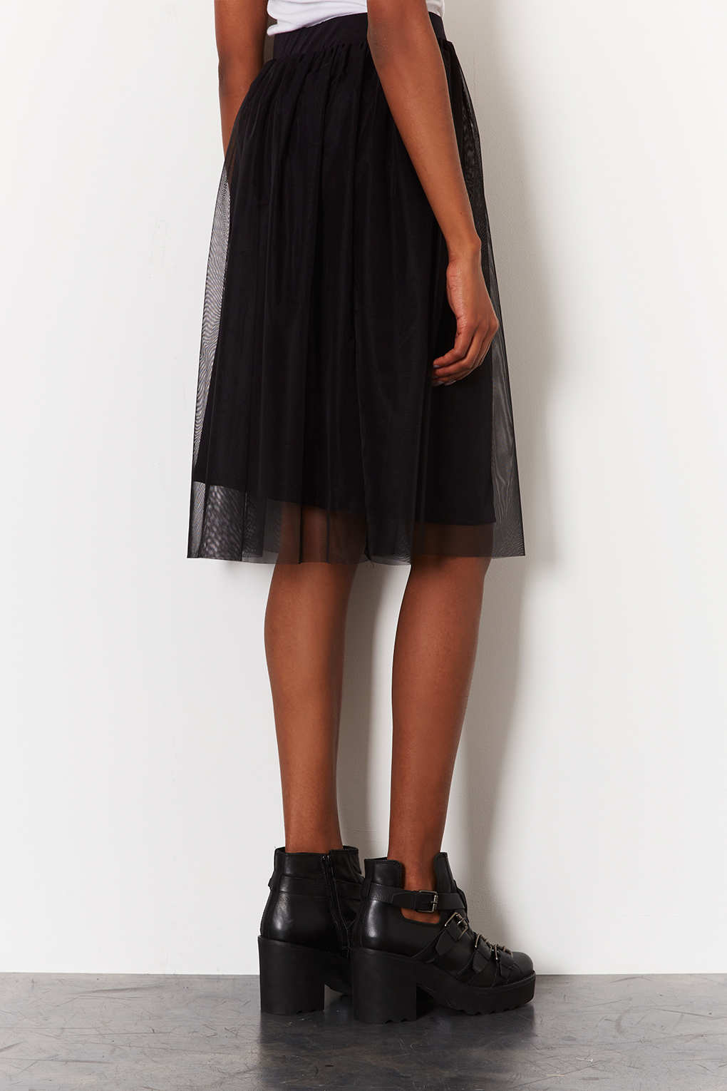 Lyst Topshop Black Midi Tulle Skirt In Black