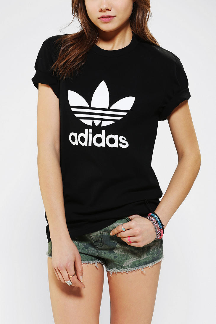 Adidas trefoil tee in black lyst for Womens black tee shirt