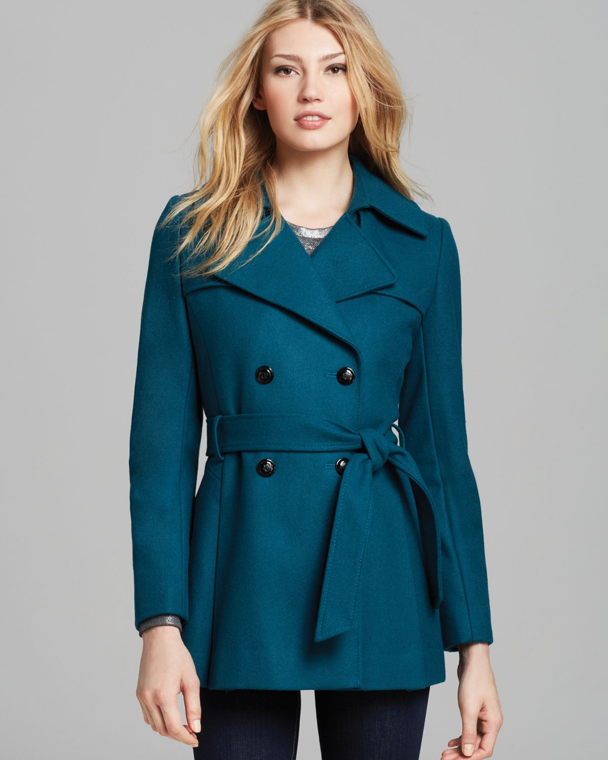 Via spiga Scarpa Double Breasted Wool Blend Coat in Green | Lyst