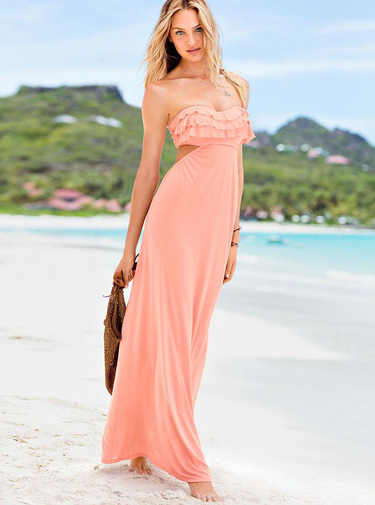 Victoria 39 S Secret Ruffle Pushup Maxi Dress In Orange Fair