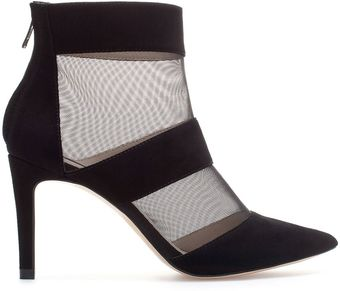 Zara Fishnet Ankle Boot - Lyst