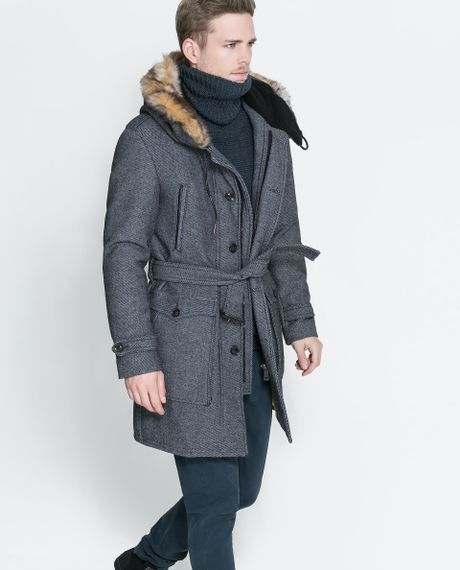 Zara Coat With Fur Hood In Blue For Men Lyst
