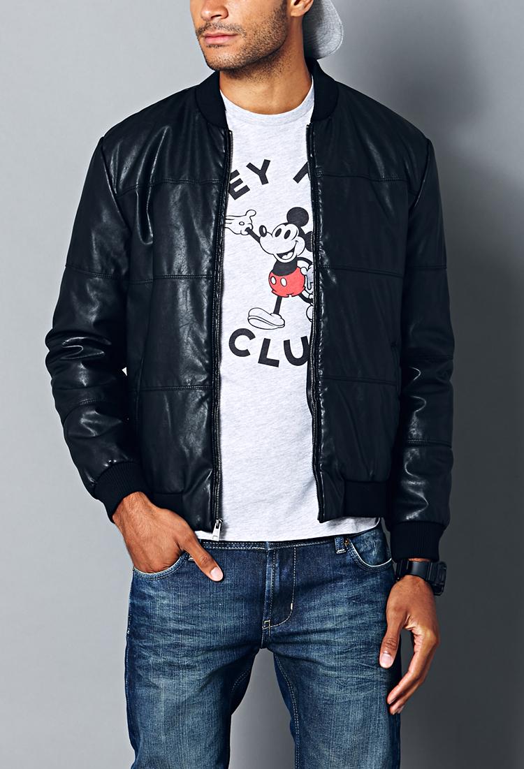 Boys faux leather bomber jacket