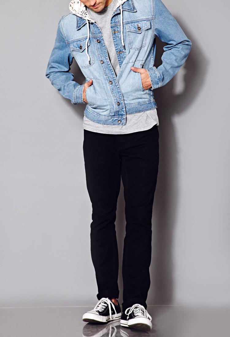 Lyst Forever 21 Fresh Hooded Denim Jacket In Blue For Men