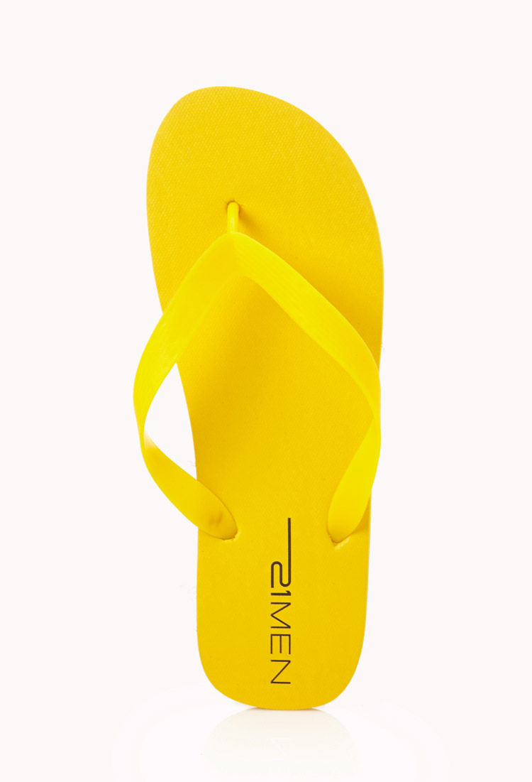 Lyst Forever 21 Flip Flop Sandals In Yellow For Men