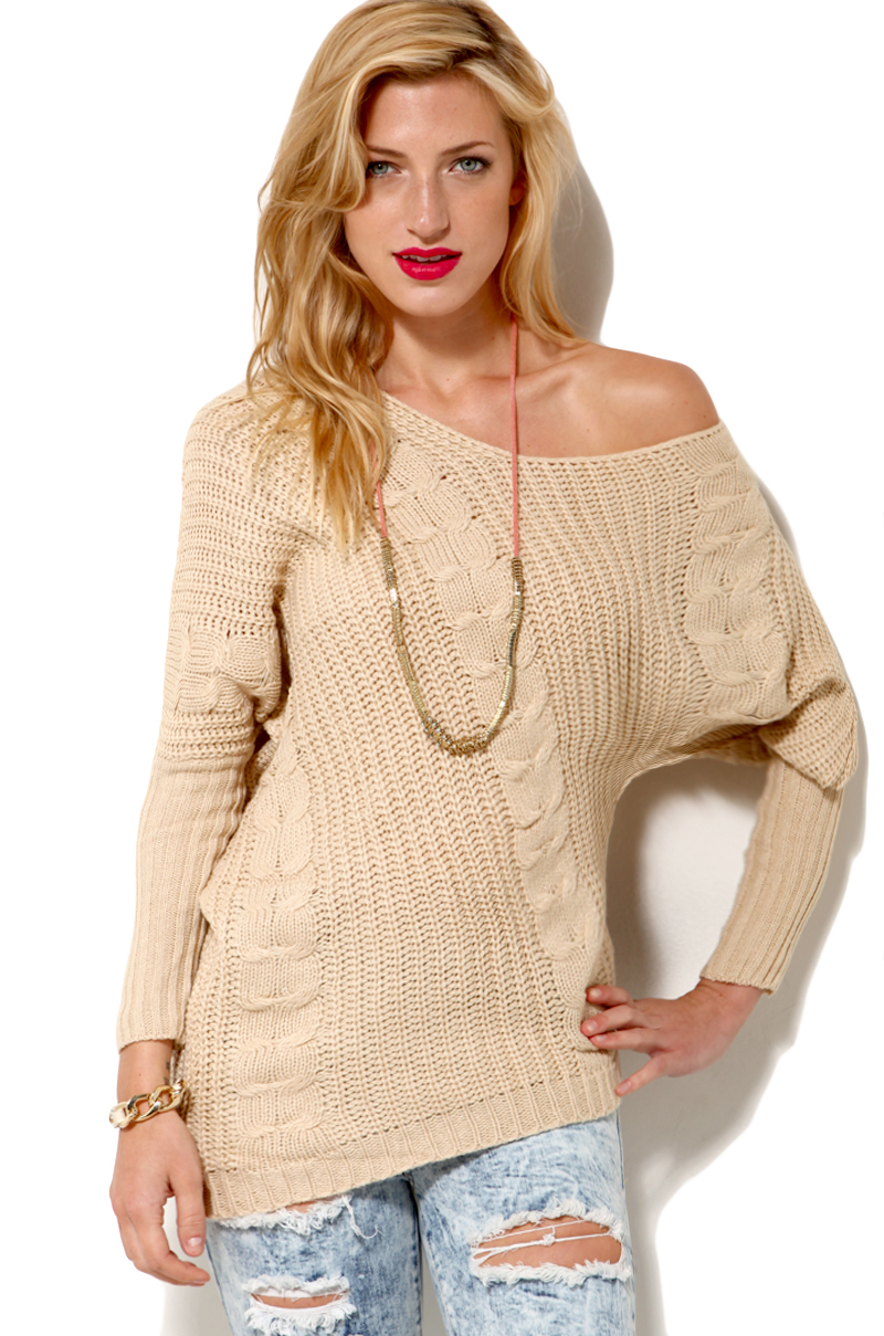 Akira Off Shoulder Cable Knit Sweater in Ivory in White | Lyst