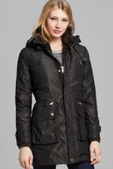 BCBGMAXAZRIA Long Anorak Jacket with Fur Trim - Lyst