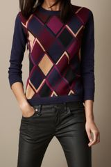 Burberry Modern Argyle Cashmere Cotton Sweater - Lyst