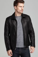 Cole Haan Smooth Leather Moto Jacket - Lyst
