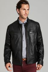 Cole Haan Washed Leather Moto Jacket - Lyst