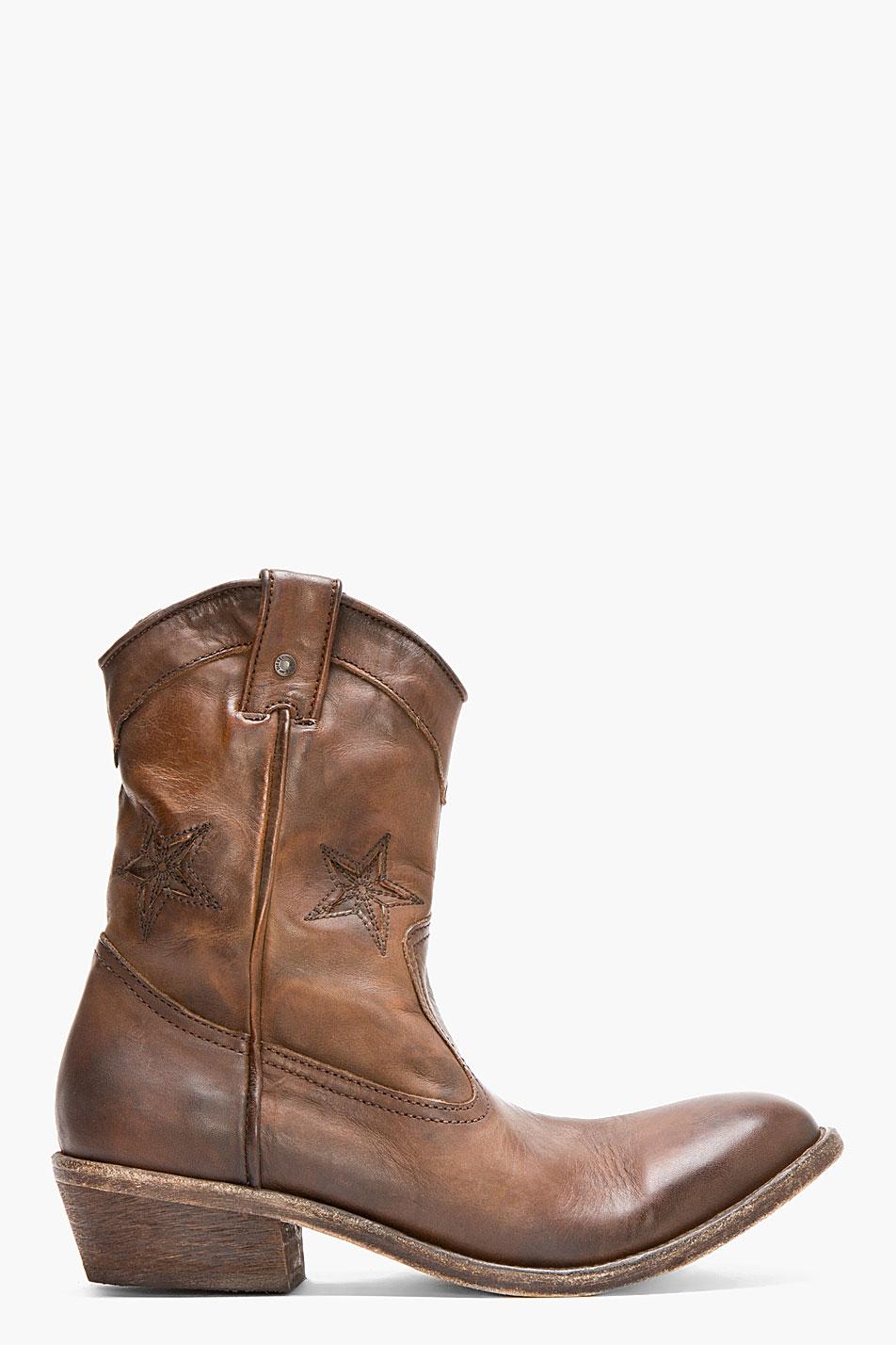 diesel brown leather korkero cowboy boots in brown for