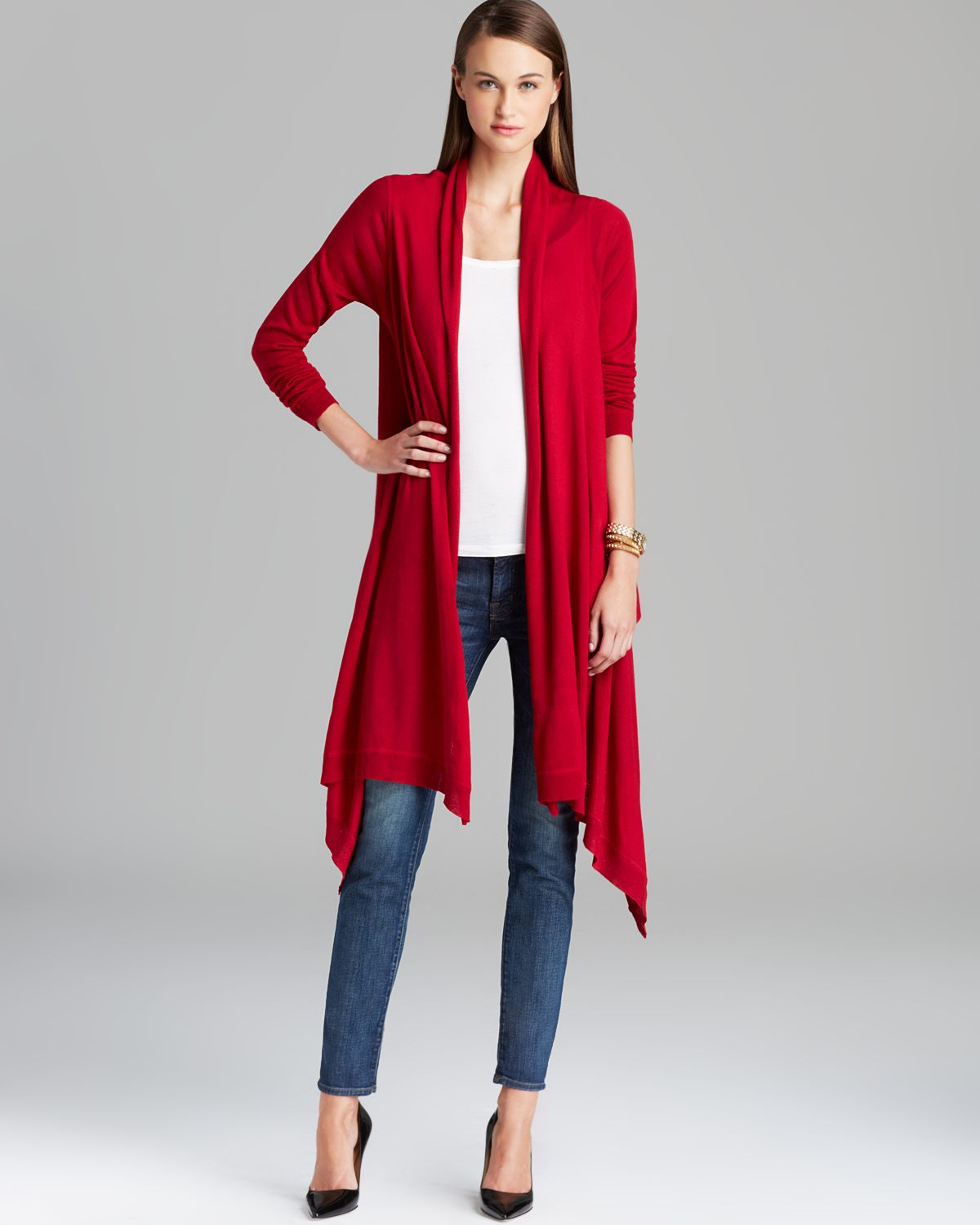Womens Long Red Cardigan Sweater - Coat Nj