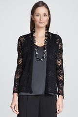 Eileen Fisher Wavy Wool Lace Cardigan - Lyst